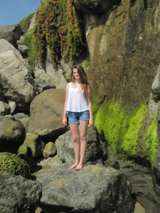 Rebecca at the bottom of the rocky cliff March 28, 2015