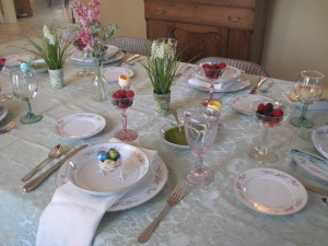My eclectic Easter table! Mostly thrift shop finds.