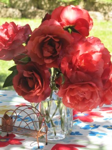 Roses from the front yard on the picnic table