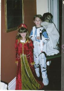 Rebecca as Padme, with Clone Trooper Michael at Willy and Jon's Halloween Party 2006