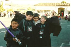Michael (Darth Vader on right) and friends at school Halloween 2005