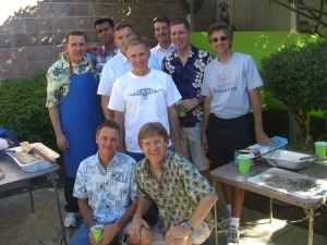 Chuck, Shawn, Vincent, Jason, Jon,. Patrick, Todd, Willy, and Bobby... cooking at Mom and Daddy's 50th Anniversary