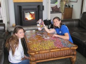Rebecca and Kalisha working on the puzzle