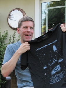Jon loves his new Star Wars shirt... the boys got a present, too!