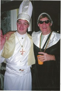 Jason (the Pope) and Bobby (the Nun) at Brewer Manor Halloween Party 2006
