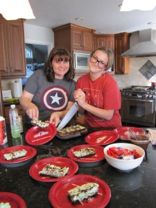 Janet and Tressa serving a Father's Day dessert.