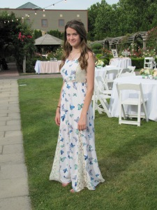 Rebecca and her beautiful butterfly dress.